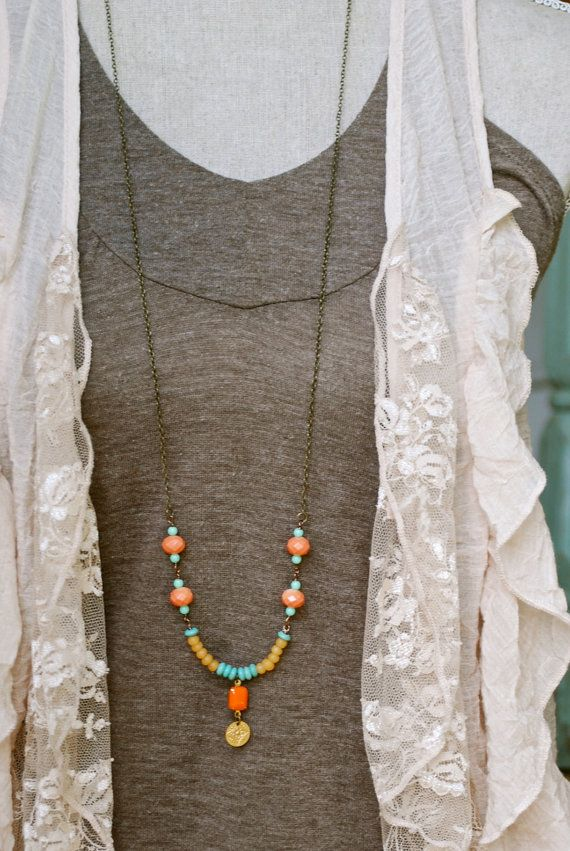 Stephanie. boho long beaded charm necklace. Tiedupmemories