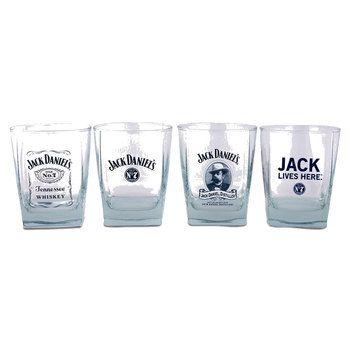Set/4 Double Old Fashioned Jack Daniels Glasses - Engravable Gift Item