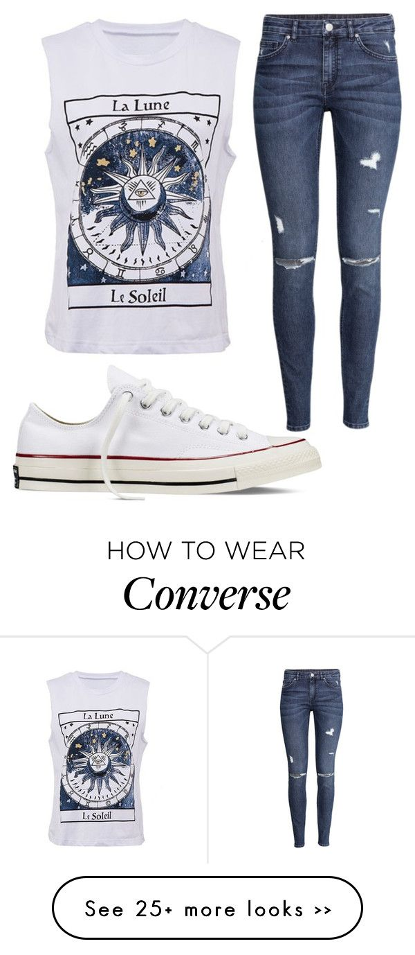 Basically looks like this dress denim jacket converse example -  Untitled 1046 By Pinkunicorn007 On Polyvore Featuring H M And Converse