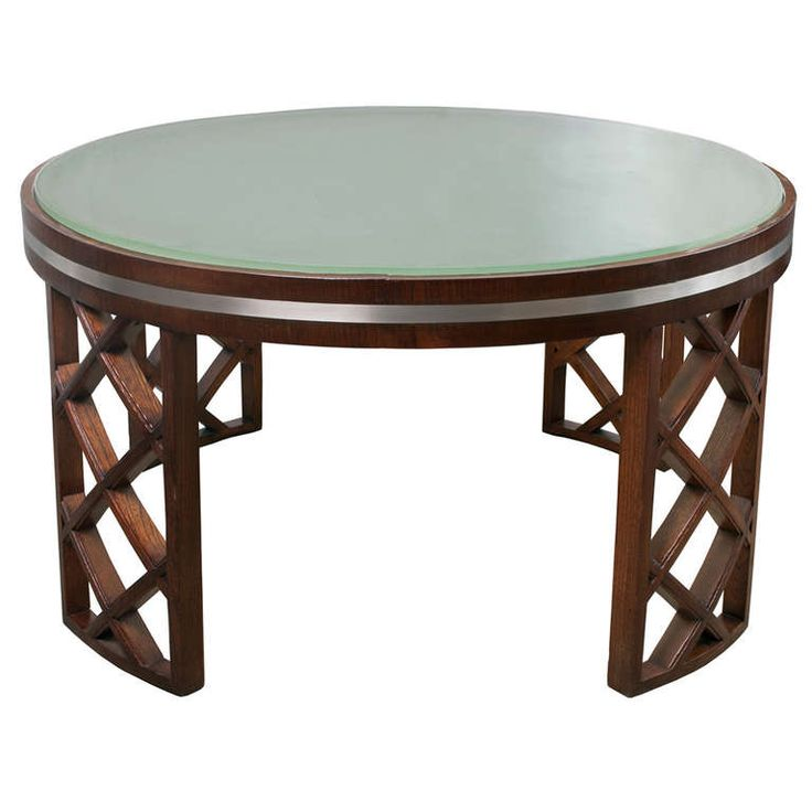 Wonderful Scandinavian Modern Coffee Table With Lattice Legs Metal Inlay Acid Etched  Top