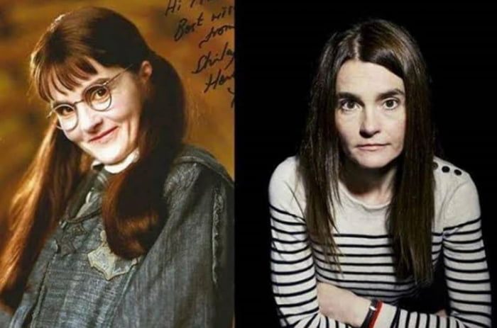 The Oldest Actor In Harry Potter As A Student Was Shirley Henderson Although She Was 45 Years Old Then She Portrayed An 11 Year Old Girl Ghost Best Funny Pictures Old Girl Actors