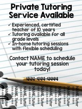 Tutoring flyer already made for those looking to make some extra money in addition to teaching. Information can be edited to match your skills.   Font used: KG Blank Space Sketch  Custom flyers available. Please contact me directly!