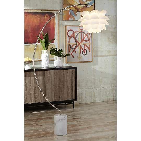 Possini Euro White Flower 78-Inch-H Arc Floor Lamp