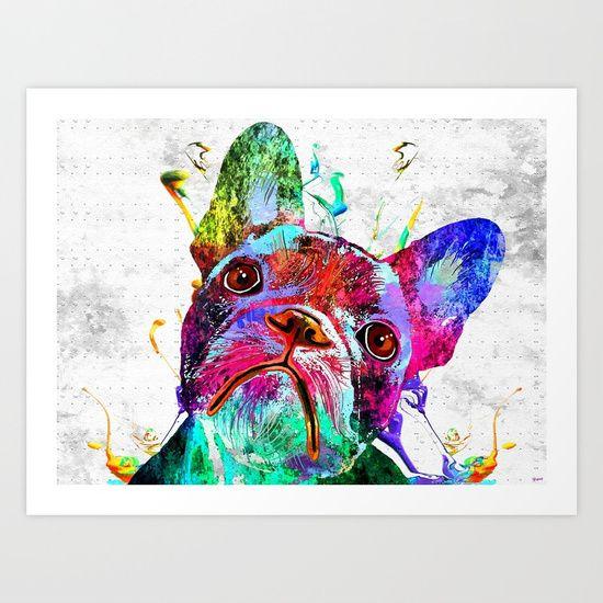 Frenchie Grunge Portrait - $24