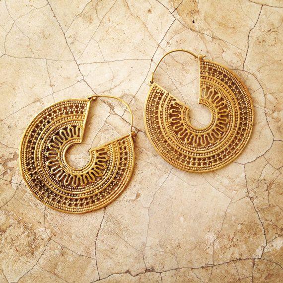 Brass Earrings Boho Earrings Tribal Earrings by LalaJewelleryBox