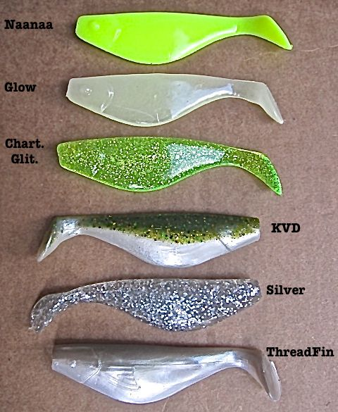 4 inch Sassy Shad are the original paddle tail swim bait that started it all!  6 great fish catching colors : Naanaa, Glow, Chart. Glit., KVD, FastGuy Silver, and ThreadFin!  A great paddle tail swimbait for Striped Bass, White Bass, Hybrid Striper, Largemouth Bass and many more!