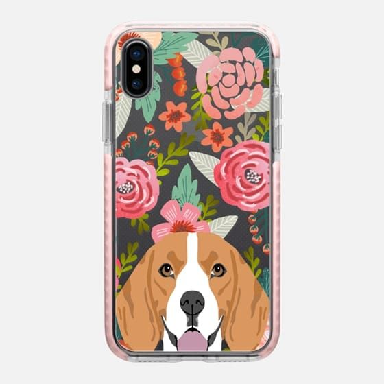 Casetify iPhone X Impact Case - Beagle florals cute spring flower blooms girly trendy hipster dog person cell phone transparent cases pet friendly by Pet Friendly