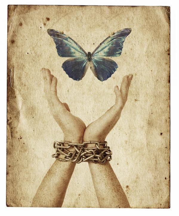 the soul (Psyche) flies free of its fleshly prison
