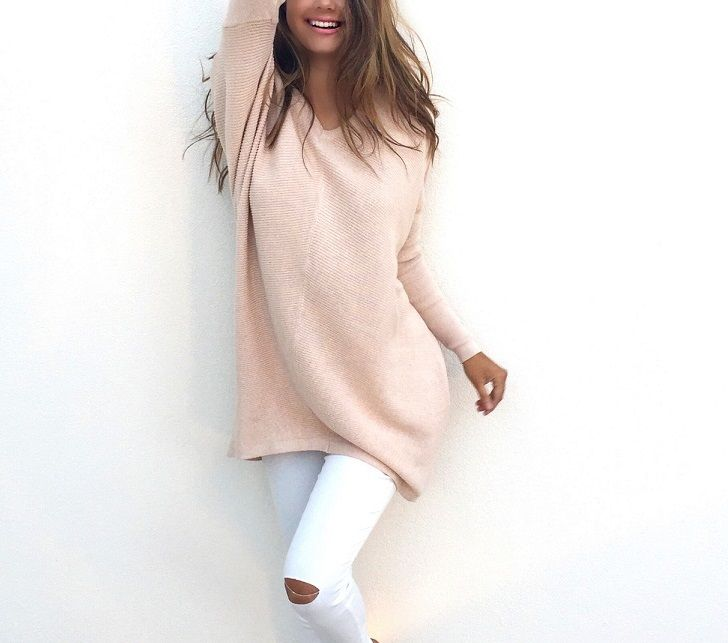 dbeabc3be9aee0 DYMADE Womens Autumn Knitted V-Neck Solid Loose Fit Soft Pullover  Sweatshirt Knitted Dress