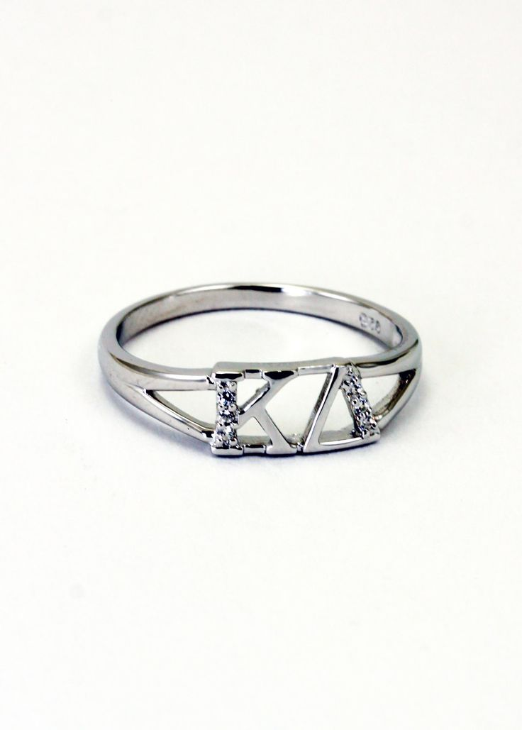 Pretty!  Kappa Delta Sterling Silver Ring set with Lab-Created Diamonds. $35.00, via Etsy.