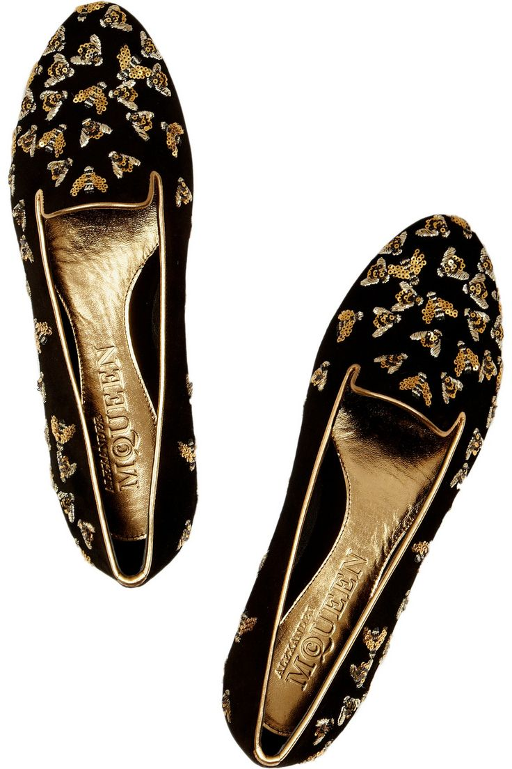Bees!   Alexander McQueen suede slippers embellished with sparkling sequin and embroidered bee motif