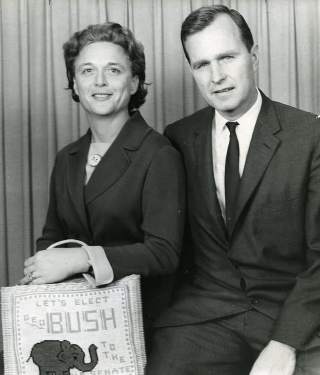 George and Barbara Bush campaign in Amarillo in 1963.