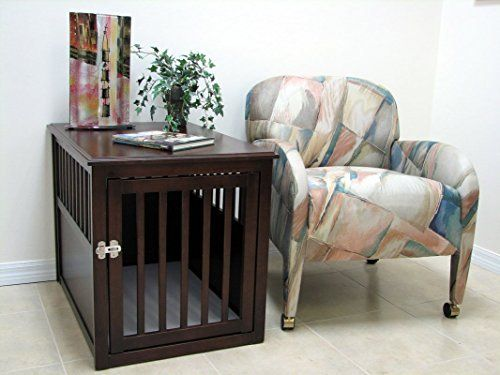 Crown Pet Products Pet Crate Wood Dog Crate Furniture End Table, Large Size  With Espresso