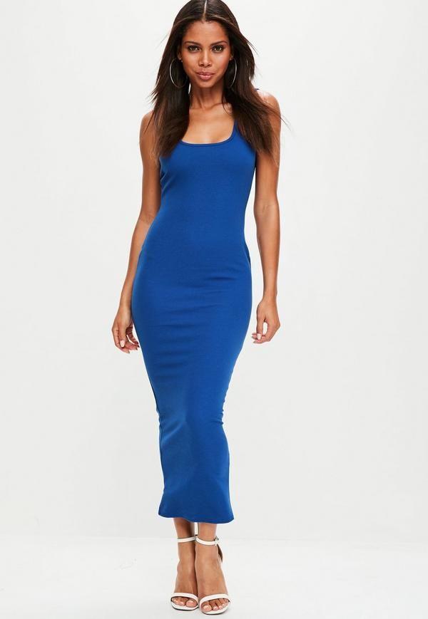 Blue Ankle Grazer Square Neck Maxi Dress