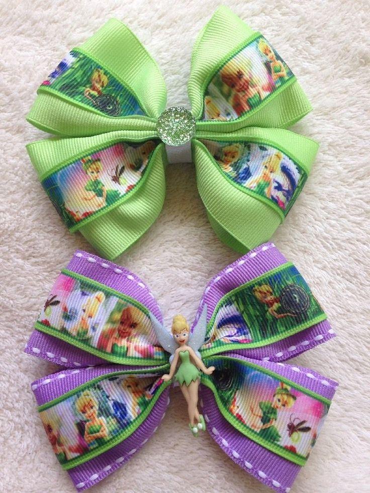 2 Handmade Girls Flat Hair Bows Disney Tinker Bell Green Purple
