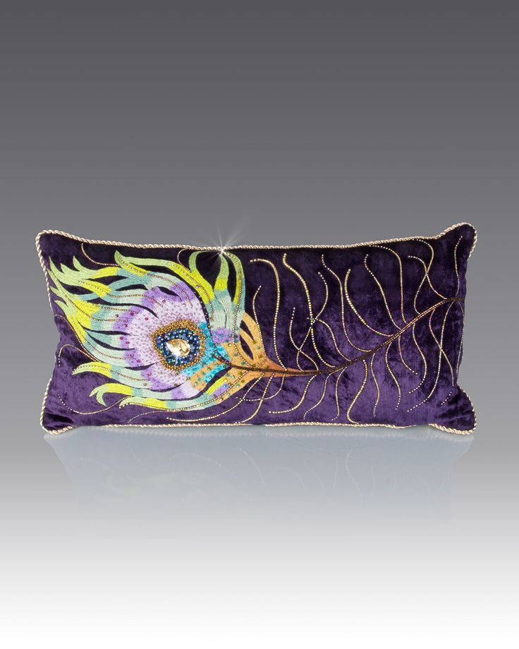 "Handcrafted pillow. Cotton/polyester velvet. Embroidered with silk threads. Embellished with Swarovski crystals and beads. Signature dragonfly zipper pull. 22"" x 11"". Imported of domestic materials."