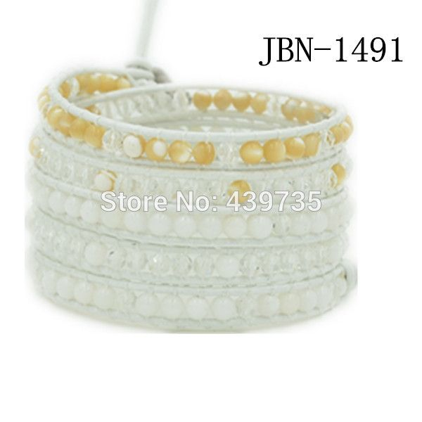 2016 new arrival fashion jewelry Hand-woven  crystal  and  shell wrapped bracelet men and women lady unisex gift JBN-1491