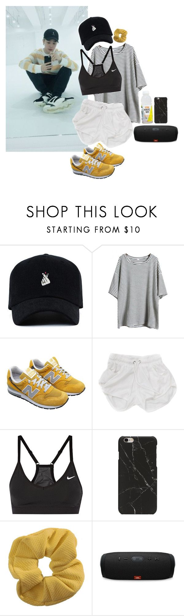 """Dance Practice with Jimin"" by blood-sweat-and-tears ❤ liked on Polyvore featuring New Balance, NIKE, Topshop and JBL"