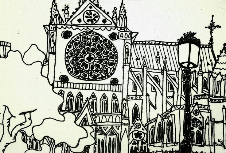 not sure why me sitting on the ground in a wide open park is a beacon for every tourist in the world to stop in front of me to look at Notre Dame. Last drawing of the Paris drawing day,ink on paper, by me Katie Jurkiewicz