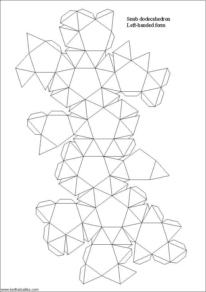 modelo de papel de un dodecaedro romo