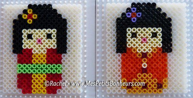 Poupées kokeshi ou kimmidoll pour un pot à crayons ou maquillage en perles hama