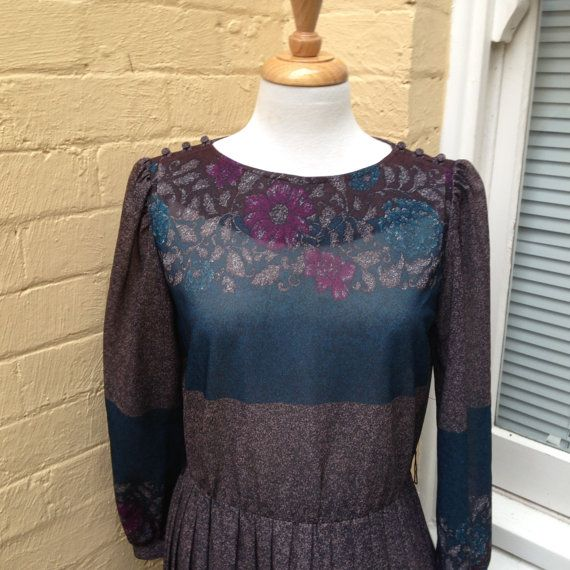 70's Printed work dress, size 12 US, large, ships from Australia on Etsy, $60.00 AUD