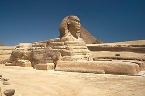 """This picture is Greate Sphinx's sculpture in the Egypt.   """"What goes on four legs in the morning, on two legs at noon, and on three legs in the evening?"""""""