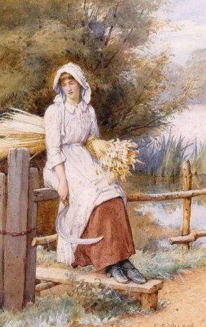 A Young Corn Gatherer ~ Charles Edward Wilson ~ (English: 1854-1941)
