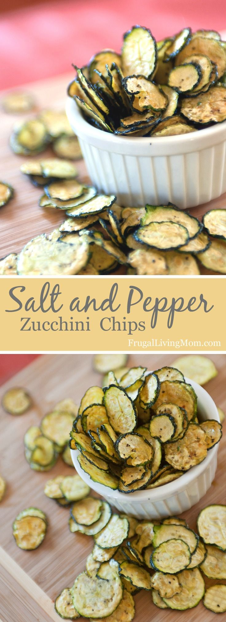 Salt and Pepper Zucchini Chips! Oh MY Goodness. These zucchini chips are SO good. Full of flavor, and just a little spicy because of the pepper. Amazingly easy to make, too! Would be perfect with a homemade garlic dip. You can make these with a dehydrator or in the oven