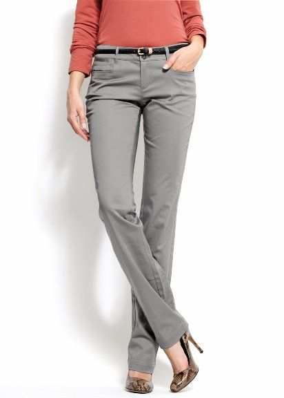 grey pants with pink top