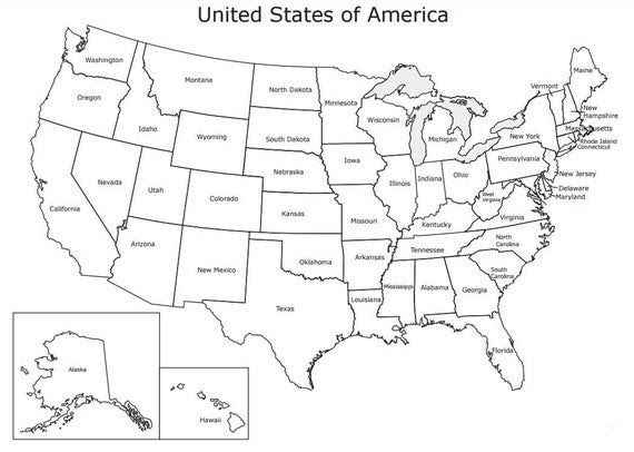 United States Map Usa Coloring Page Usa State Map United Etsy Us Map Coloring Pages Best Coloring In 2020 United States Map Printable Us Map Printable Maps For Kids