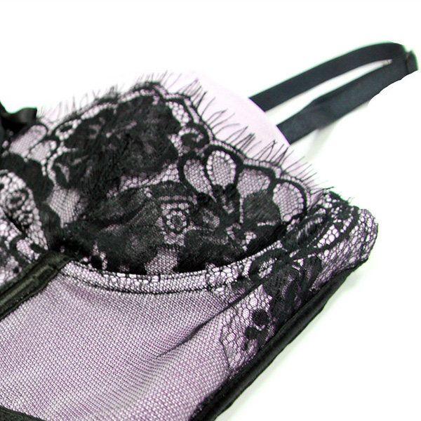 Sexy Push Up Eyelash Lace Tummy Control Corset For Women