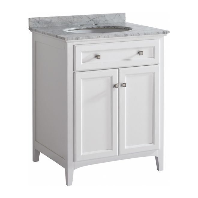 Rona malaga vanity basement pinterest marble top white vanity and nice for Fabrique meuble a lavabo