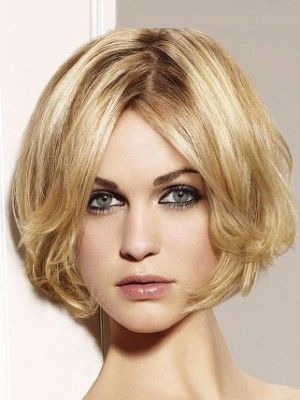 Sweetheart Golden Short Wavy Bouncy Bob Hairstyle Capless