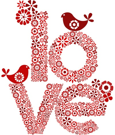 Love in red print by valentina design