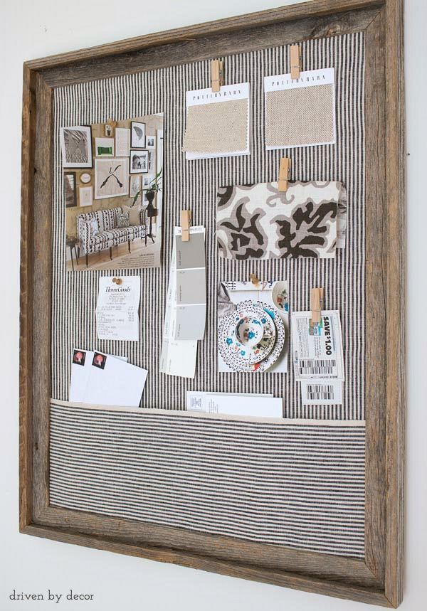 Simple DIY cork bulletin board (love the fabric pocket!)