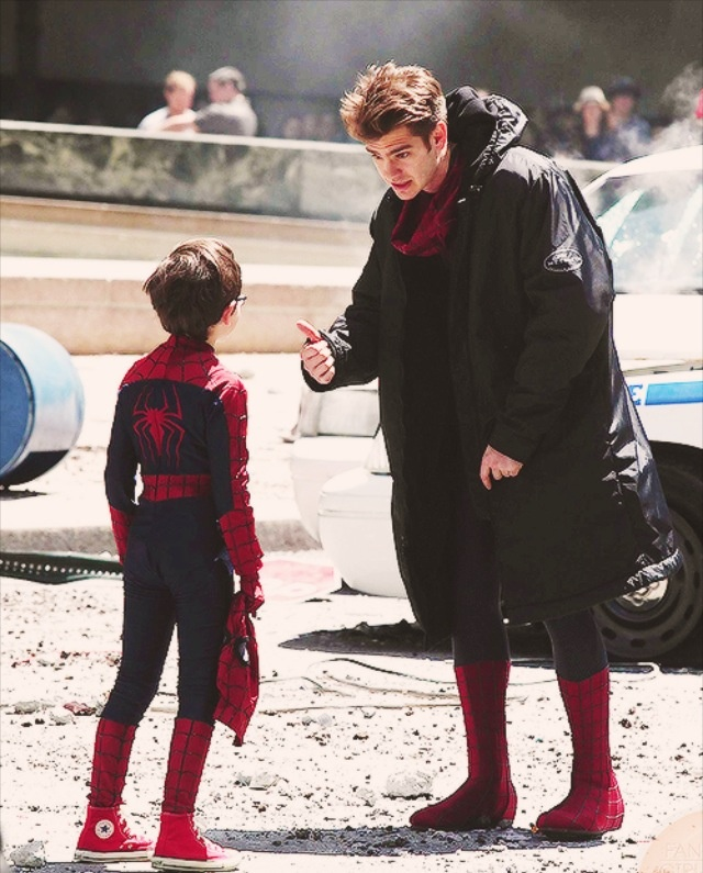 Andrew Garfield and a mini Spider-Man on the set of Spider-Man 2