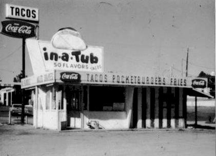 The original in-a-Tub at 42nd Street and North Oak Trafficway, Kansas City, Missouri.  We love our tacos!