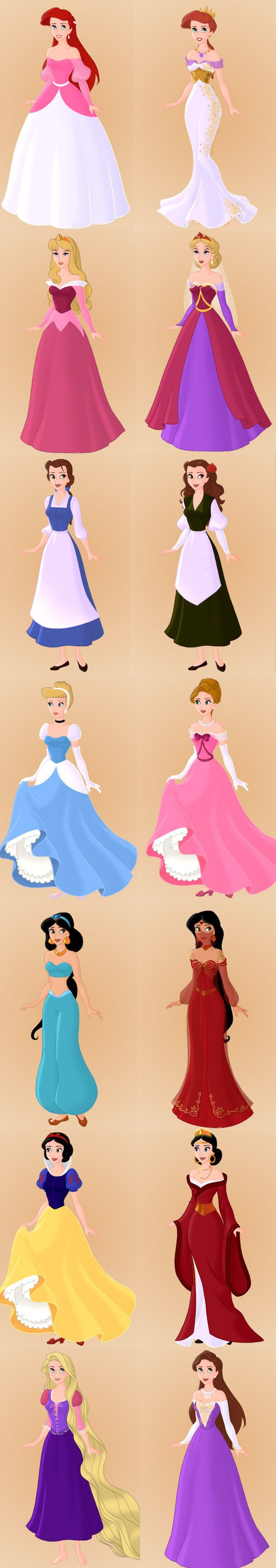Disney Princesses And Their Moms. Can I just have the mothers' outfits please?