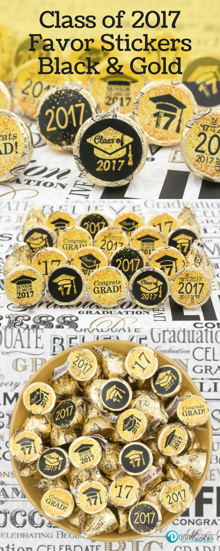 Black and Gold Class of 2017 Stickers for Candies - Kisses, Lifesavers, Peanut Butter Cups and so much more!