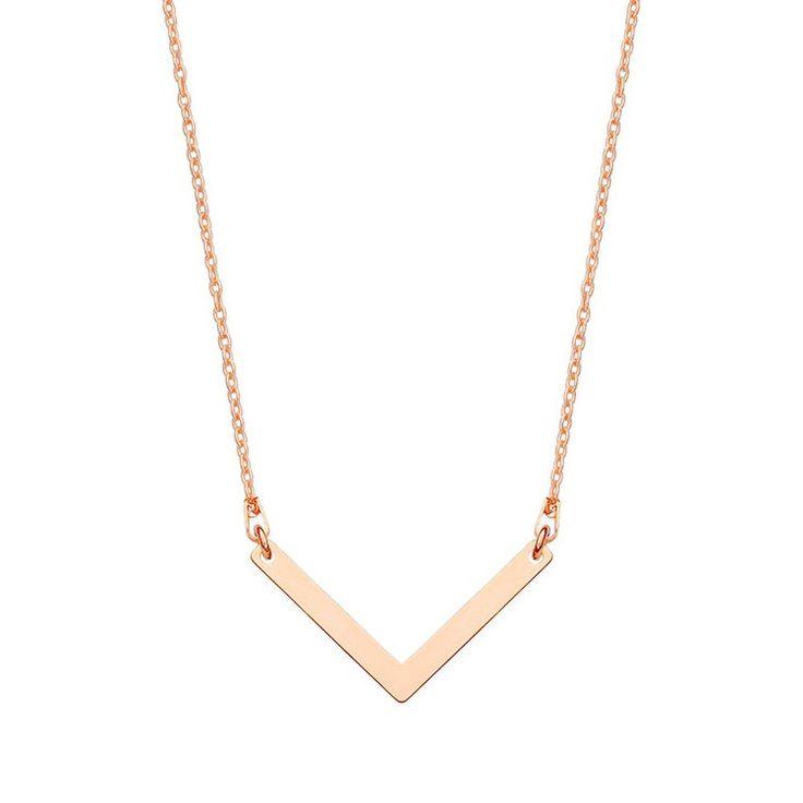 Naszyjnik z różowego złota z zawieszką V