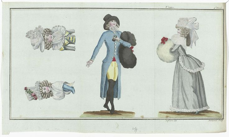Magasin des Modes Nouvelles Françaises et Anglaises, 11 février 1789, Pl.  1,2 et 3, A.B. Duhamel, Buisson, 1789