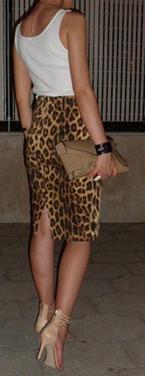 leopard print pencil skirt & tank <3