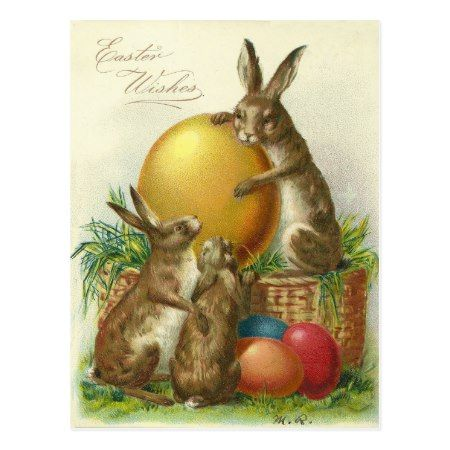 Vintage Easter Wishes 1906 Postcard - click/tap to personalize and buy