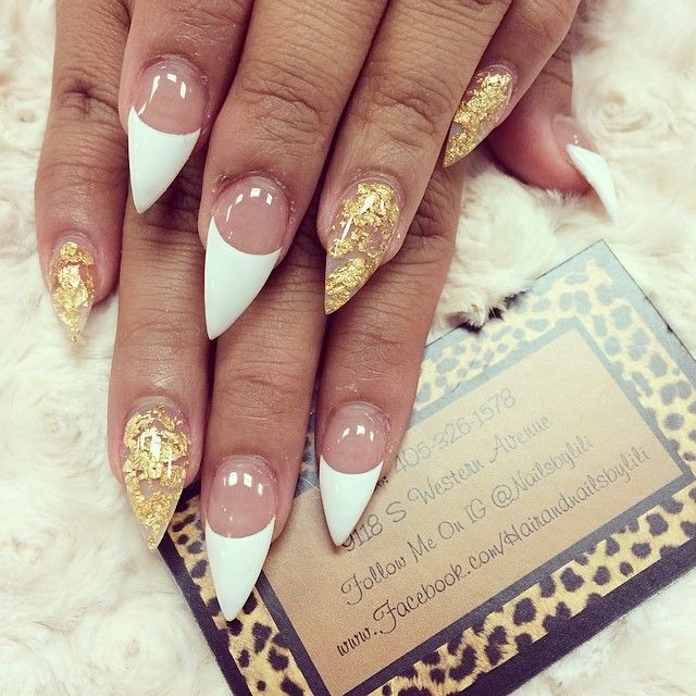 #ShareIG Classy French with some gold flakes