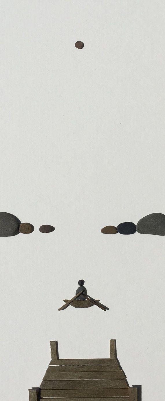 Muelle con el arte de piedra barco por sharon nowlan por PebbleArt