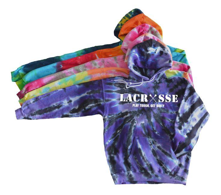 Lacrosse Tie Dye Sweatshirt - White Lacrosse Logo with Crossing Sticks