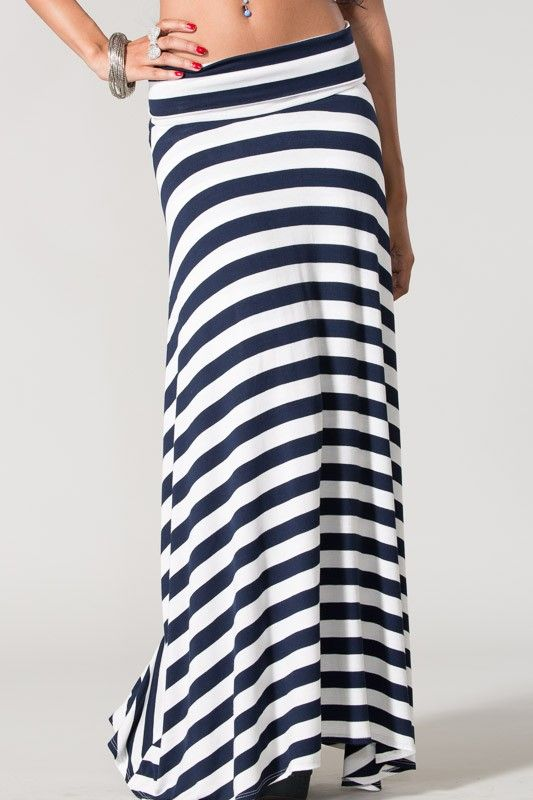 Magnolia Boutique Indianapolis - Navy and White Striped Maxi Skirt, $32.00 (http://www.indiefashionboutique.com/navy-and-white-striped-maxi-skirt/)