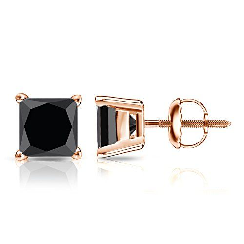 14k Rose Gold Princess-cut Black Diamond 4-Prong Basket Stud Earrings (4 ct, Black) by Diamond Wish