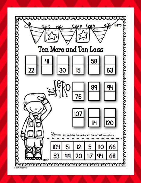 Freebie - First Grade - Veterans Day Ten More, Ten Less
